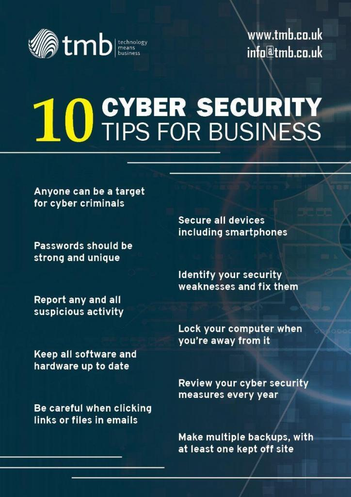 10 Business Cyber Security Tips Infographic
